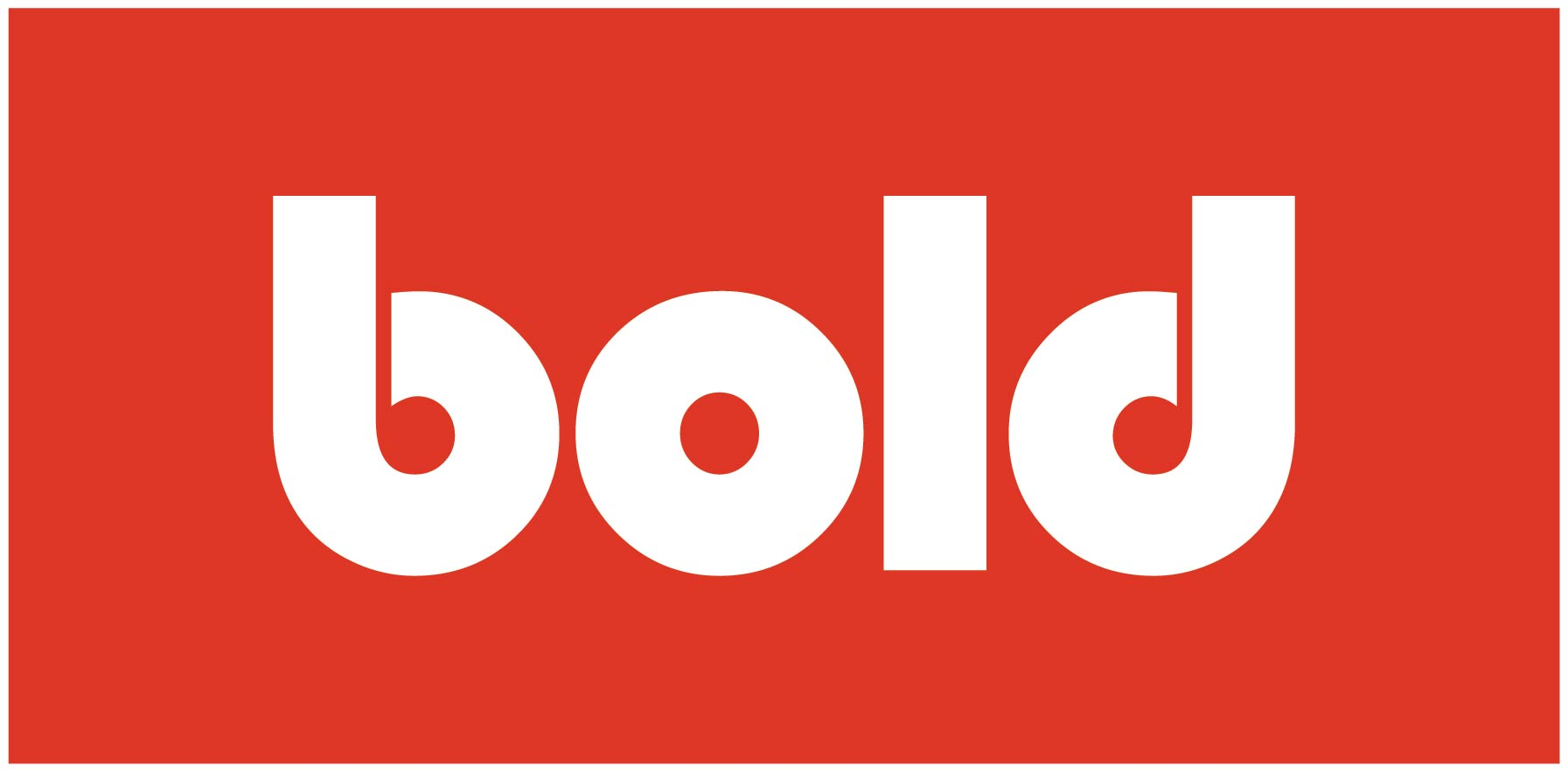 Inside red box with white outline is the word Bold in thick white block lettering for Bold logo