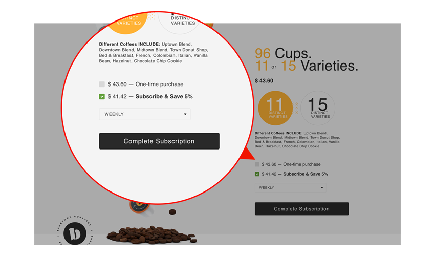Webpage screenshot example of coffee product page and discounts offered for subscribe and save