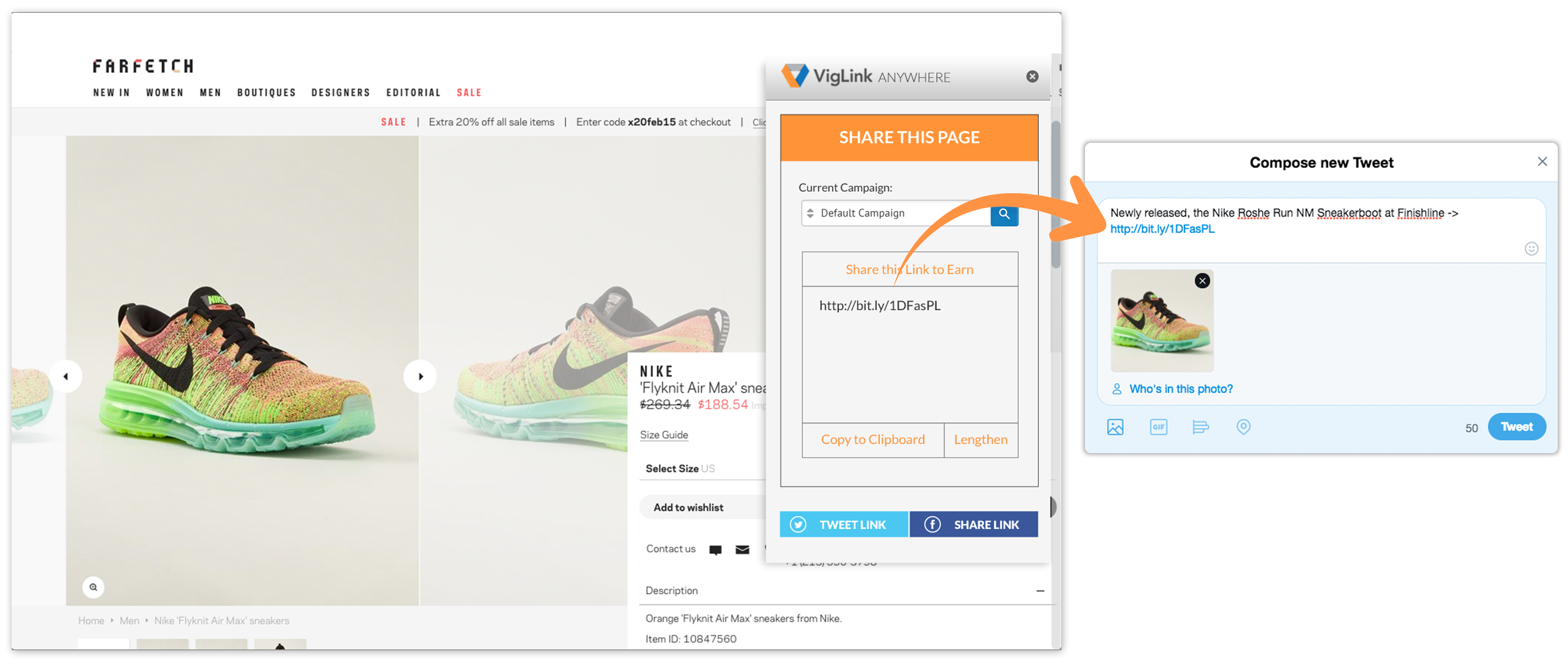 Webpage screenshot example of Viglink affiliate link sharing of Nike sneaker to Twitter for paid commissions